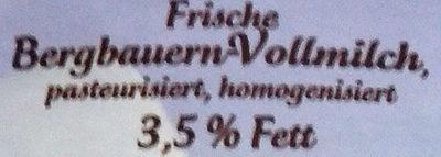 Frische Bergbauern Milch 3,5% Fett - Ingredients