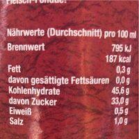 Süss saure sauce - Nährwertangaben - de