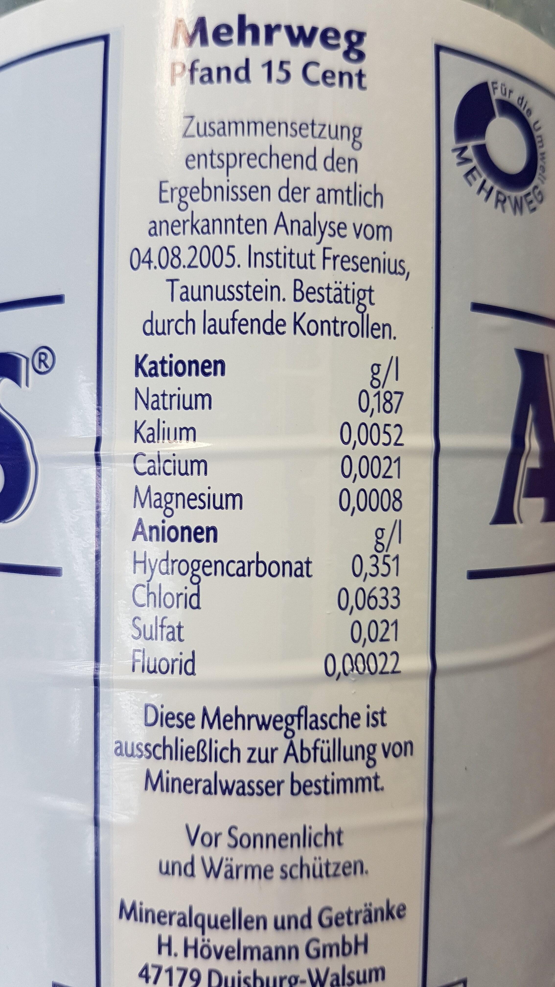 Aquintus classic - Nutrition facts