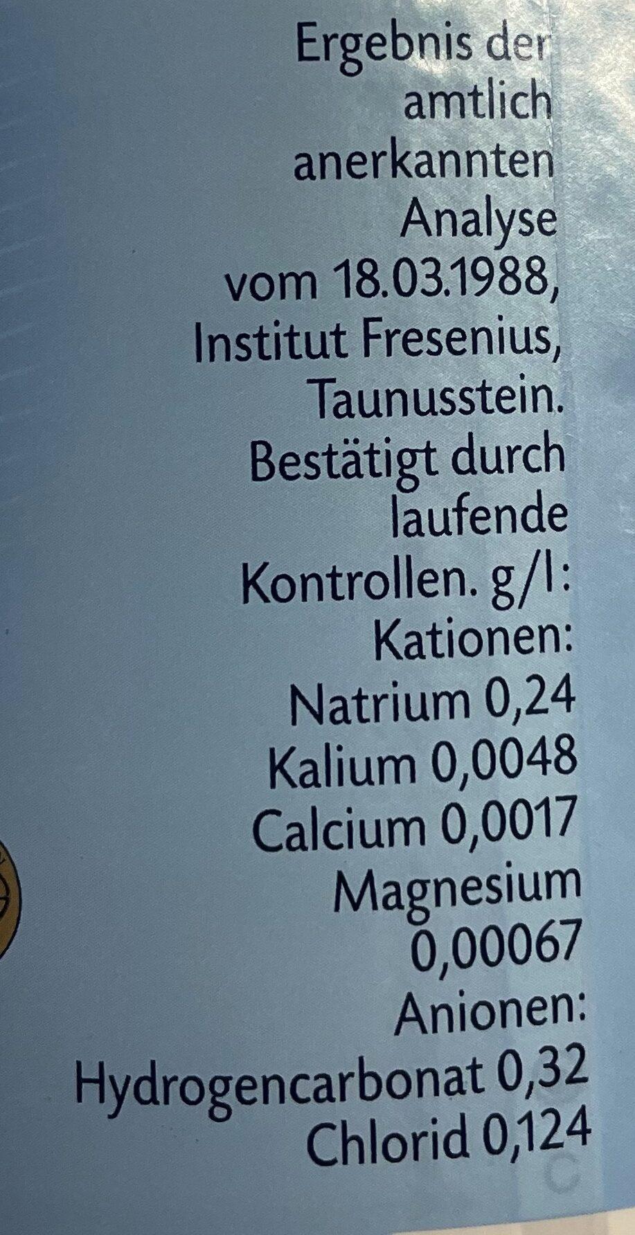 Klassik - Natürliches Mineralwasser - Nährwertangaben - de