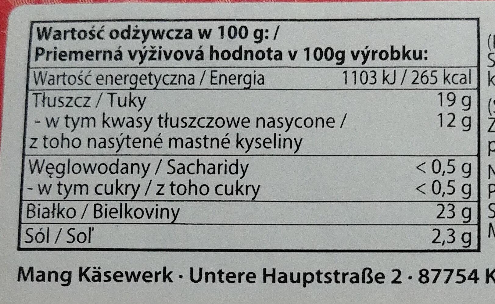 Limburger - ser miękki 40% tłuszczu - Wartości odżywcze - pl