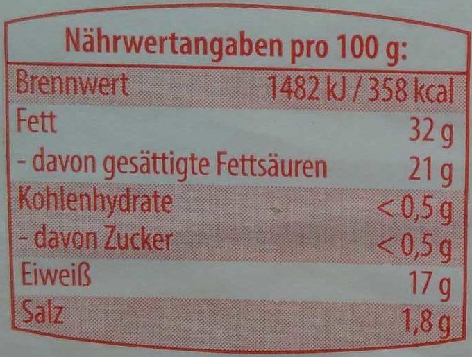 Original Allgäuer Rubius, der Milde - Nährwertangaben