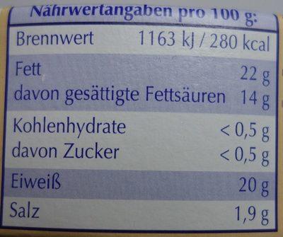 Striegistaler Zwerge Camembert 6 herzhafte Ecken - 45% Fett i. Tr. - Nutrition facts - de