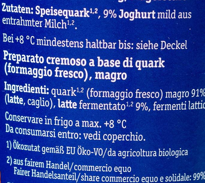 Cremiger Bio-Quark mit mildem Joghurt - Ingrediënten - de