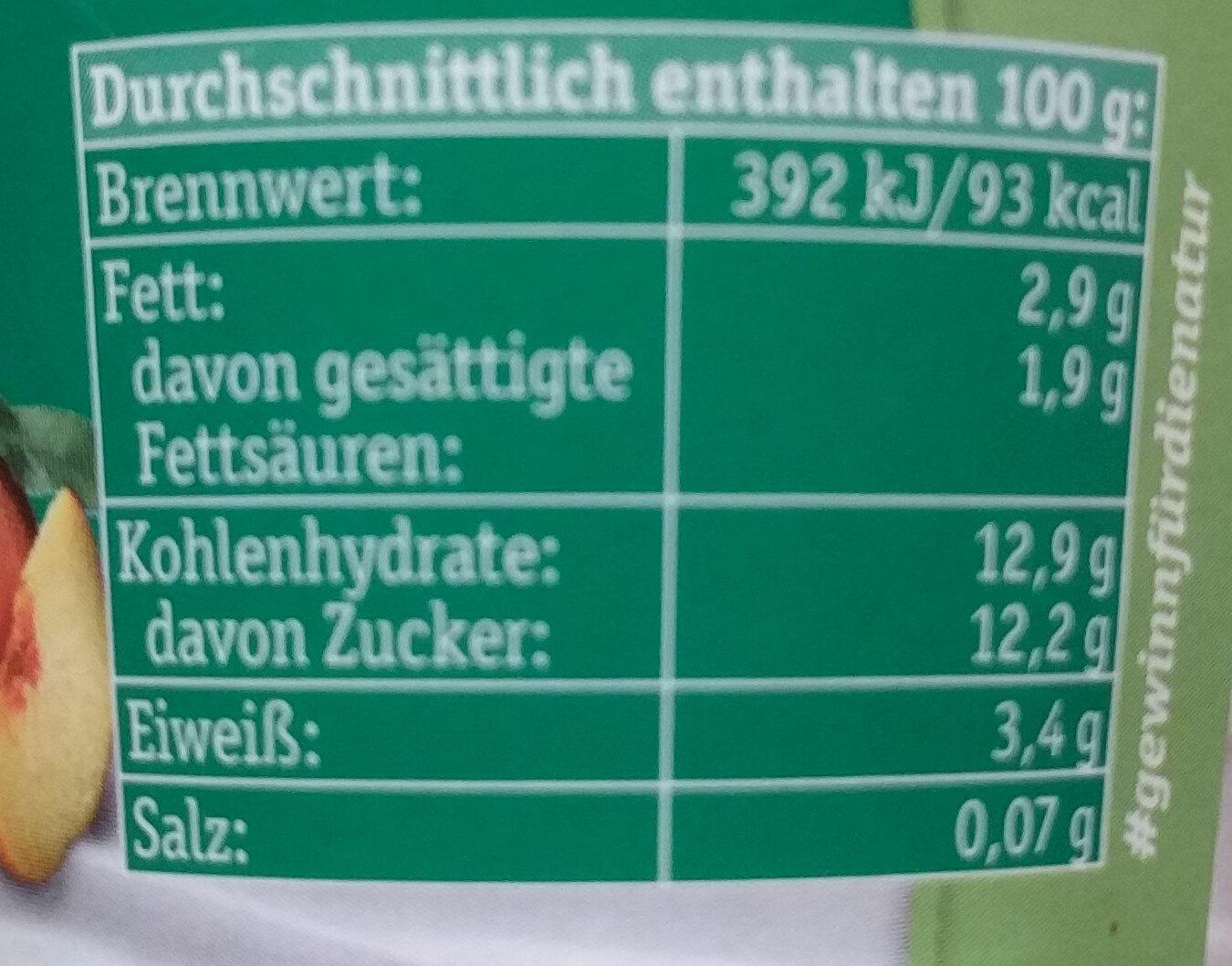 Milder Fruchtjoghurt Pfirsich-Maracuja - Nutrition facts