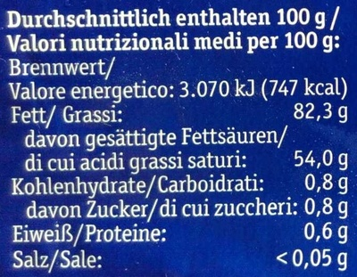Bio-Alpenbutter - Nutrition facts - de