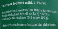 Fettarmer Joghurt, mild - Ingrediënten