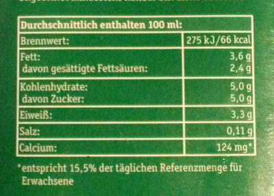 Frische Bergbauern Milch - Informations nutritionnelles