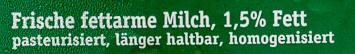 Frische Berhauernmilch 1,5% - Ingrédients - de