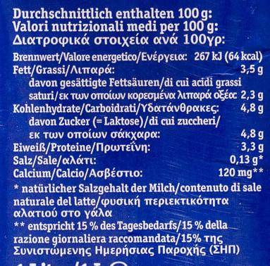 Frische BIO Alpenmilch - Voedigswaarden