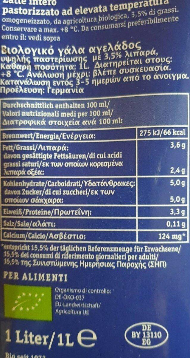 Frische BIO Alpenmilch - Valori nutrizionali - de