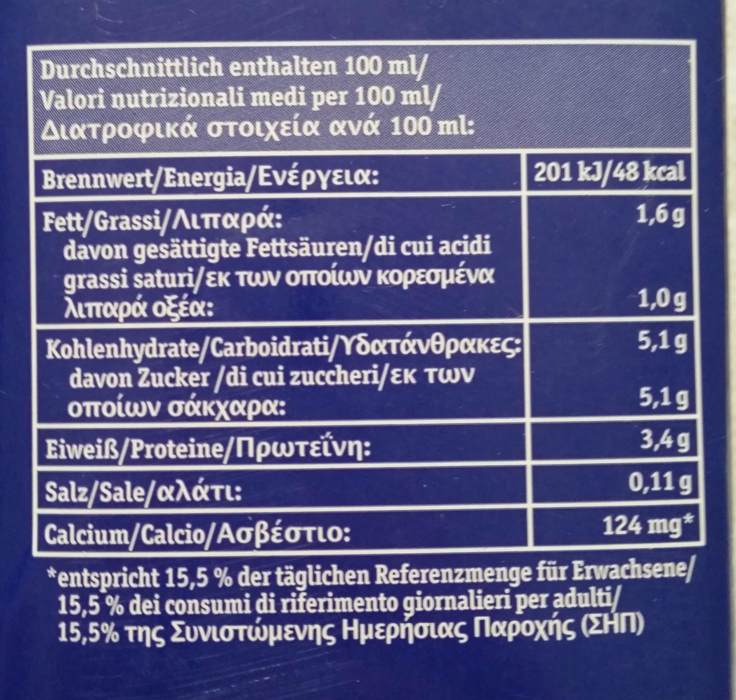 Bio Alpenmilch fettarm, Milch - Nutrition facts