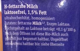 H-Bio Alpenmilch 1,5% - Zutaten - de