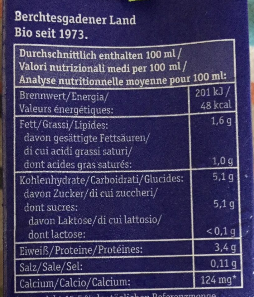 H-Bio Alpenmilch Laktosefrei - Voedingswaarden - de