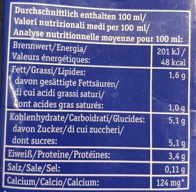 H-Bio Alpenmilch 1,5% - Nährwertangaben - de