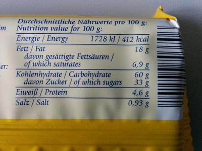Marmor Snack - Nährwertangaben
