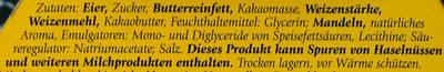 BaumKuchen Zartbitter - Inhaltsstoffe - de