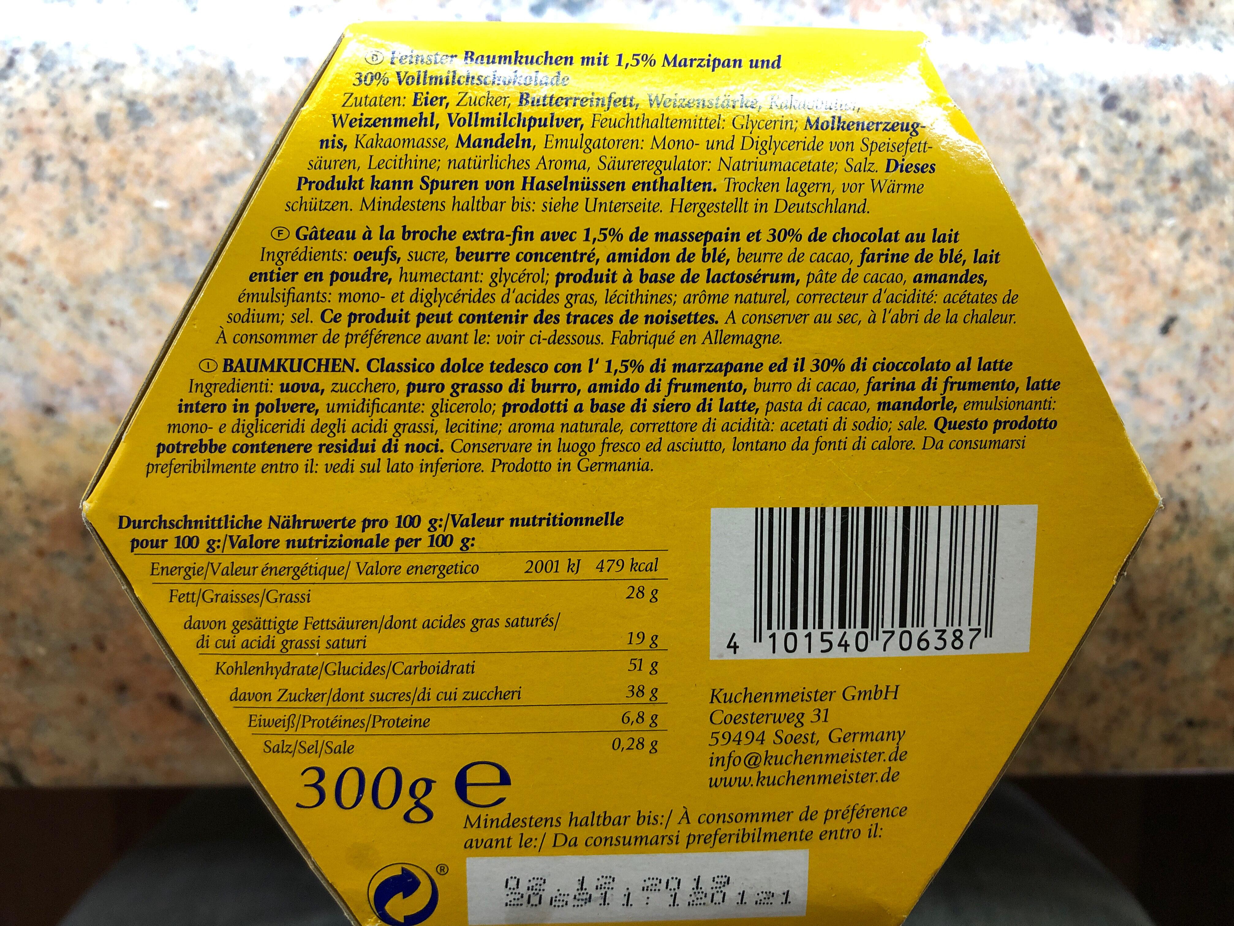 Baum kuchen - Ingredients