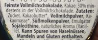 Vollmilch-Chocolade - Ingredienti - de