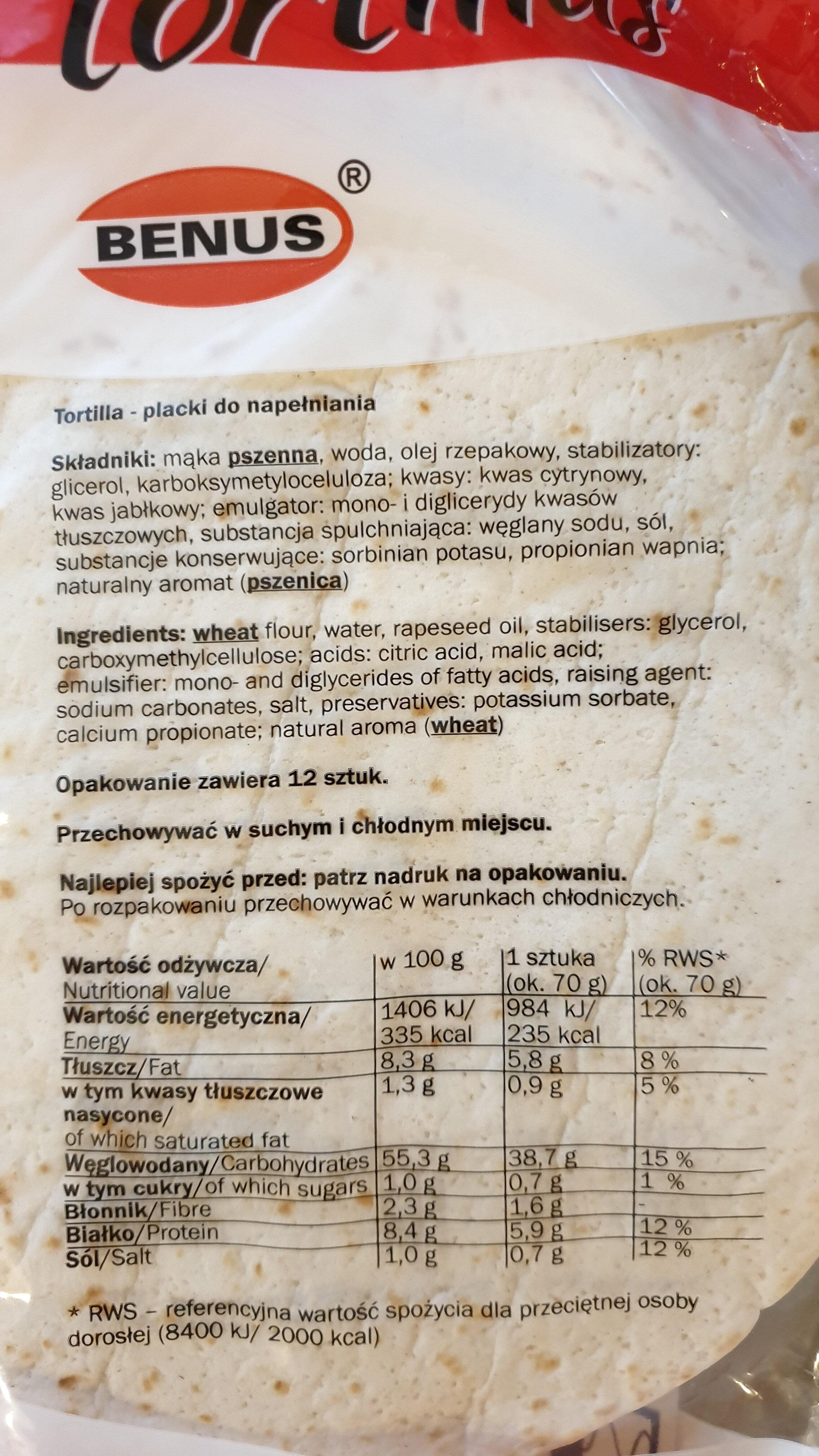 tortillas - Ingrédients - pl
