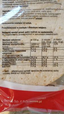 tortillas - Informations nutritionnelles - pl