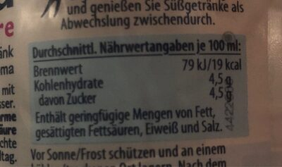 Hella himbeere - Nutrition facts