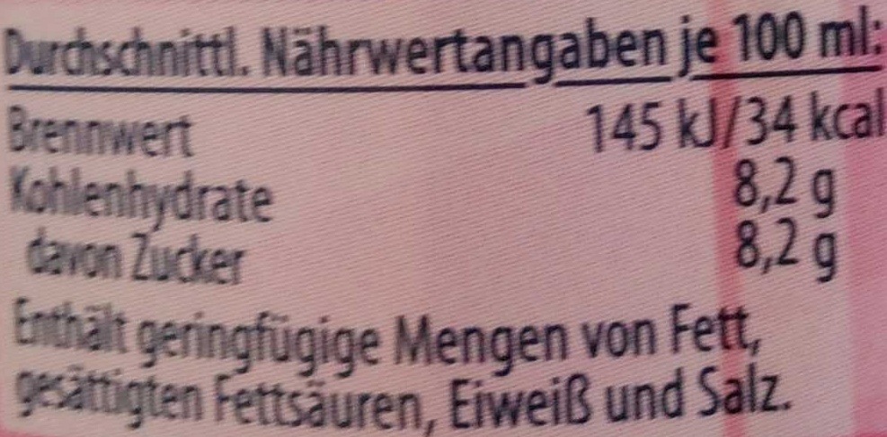 Himbeer-Limo - Nutrition facts - de