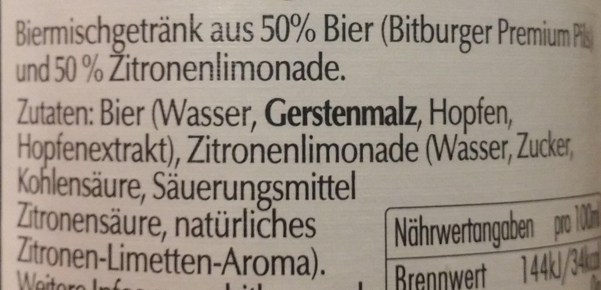 Bitburger Radler - Ingrediënten - de
