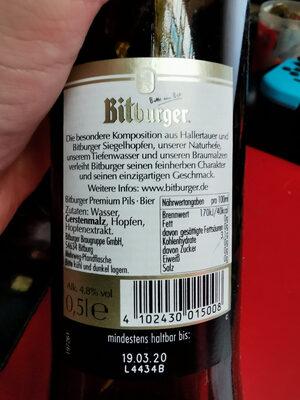 Bitburger Premium Pils - Valori nutrizionali - de