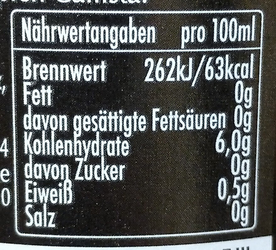Winterbock - Informations nutritionnelles