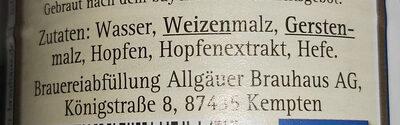 Allgäuer Brauhaus Büble Bier Edel Weizen - Ingredients - de