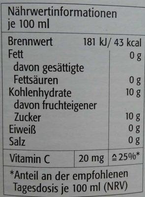 Apfelsaft naturtrüb - Informations nutritionnelles