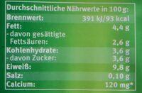 Handgeschöpfter Bio-Topfen - Nährwertangaben - de