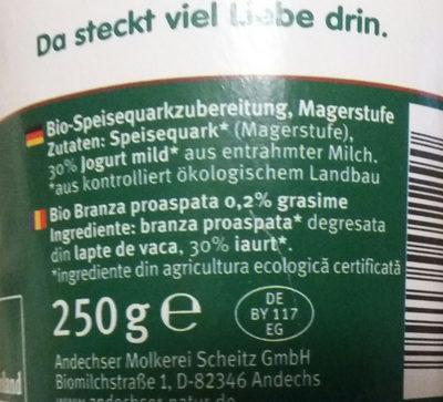 Bio-Speisequarkzubereitung - Ingredients - de