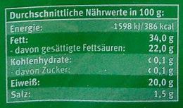 Bio-Alpenländer Butterkäse - Nährwertangaben