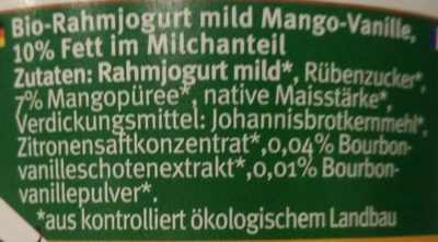 Bio-Rahmjogurt Mango-Vanille - Ingrediënten - de