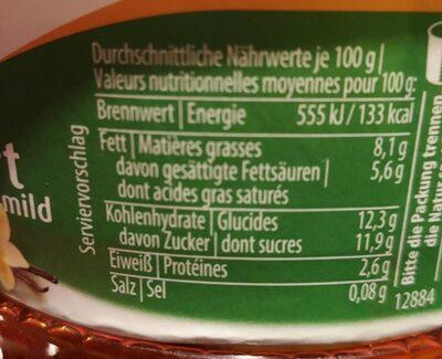 Bio-Rahmjogurt Mango-Vanille - Voedingswaarden - de