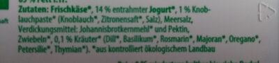 Bio-Frischkäsezubereitung Kräuter - Ingredients - de