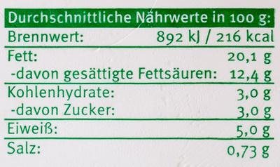 Bio-Frischkäsezubereitung Kräuter - Nutrition facts - de
