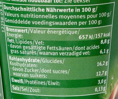 Bio-Sahne Pudding Schokolade - Nutrition facts