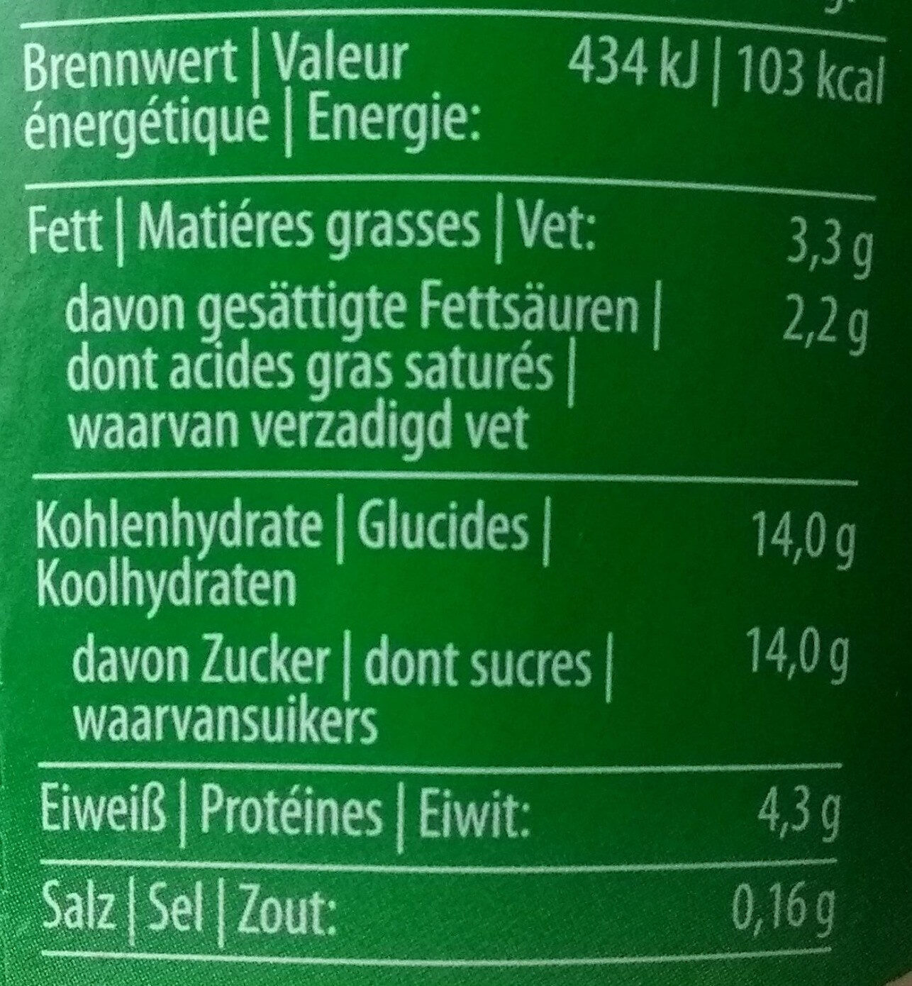 Bio-Joghurt Vanille - Nutrition facts
