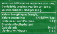 Laif fermenté Bio - vanille - Informazioni nutrizionali - fr