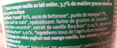 Yaourt Biologique au Lait Entier Mangue Vanille - Zutaten
