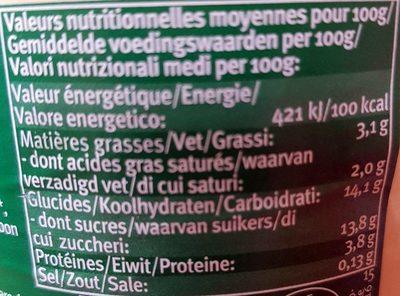 Yaourt Biologique au Lait Entier Mangue Vanille - Nährwertangaben