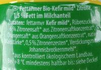 Fettarmer Bio-Kefir mild Zitrone - Ingredients - de
