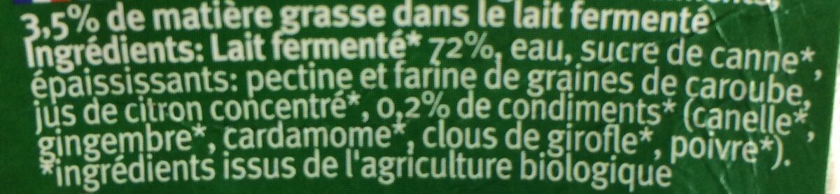 Lassi Chai - Ingrediënten - fr