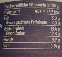 Andechser Natur - Joghurt mild Heidelbeere - Nährwertangaben - fr