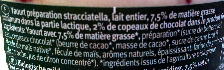 Yaourt Biologique au Lait Entier - Stracciatella - Ingrédients