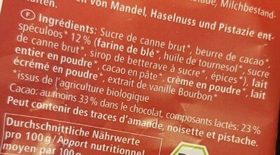 Chocolat lait au speculoos - Ingrédients - fr