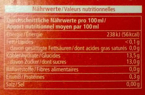 Frucht Punsch Holunder - Nutrition facts